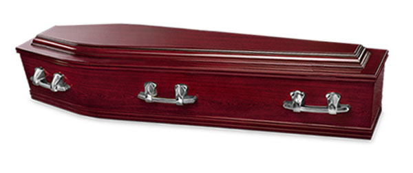 Mayfair Funerals Perth Rosewood Coffin with Swan Raised Lid and silver handles.
