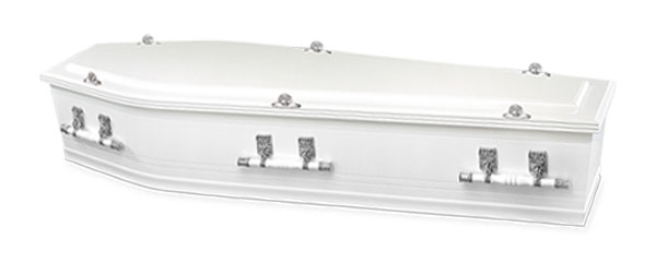 Mayfair Funerals Gloss White Coffin Swan with Raised Lid and silver handles