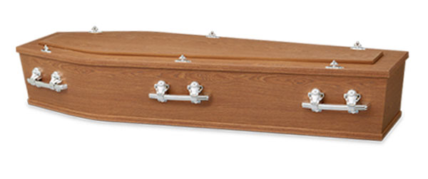 Mayfair Funerals Perth Oak Coffin with Swan Raised Lid and silver handles.
