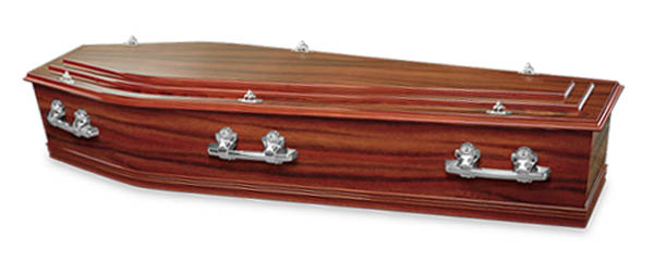 Mayfair Funerals Perth Sapele Coffin with Swan Raised Lid and silver handles.