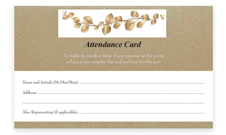 Funeral Directors Perth to hand out Attendance Cards for Mourners at the Perth Cremation Service
